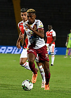 BOGOTÁ-COLOMBIA, 09-02-2019: Omar Albornoz de Deportes Tolima, durante partido de la fecha 4 entre Independiente Santa Fe y Deportes Tolima, por la Liga Aguila I 2019, en el estadio Nemesio Camacho El Campin de la ciudad de Bogotá. / Omar Albornoz of Deportes Tolima, during a match of the 4th date between Independiente Santa Fe and Deportes Tolima, for the Liga Aguila I 2019 at the Nemesio Camacho El Campin Stadium in Bogota city, Photo: VizzorImage / Luis Ramírez / Staff.