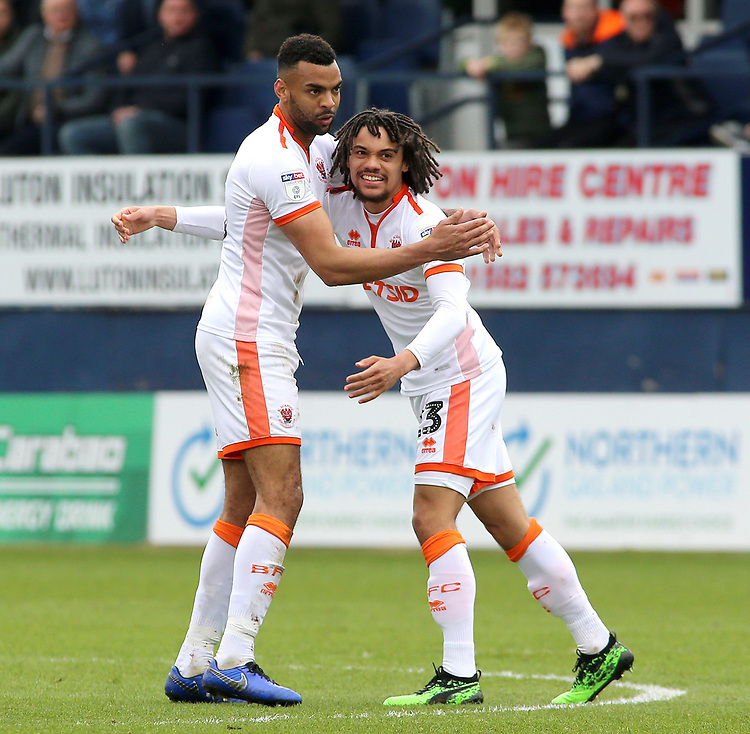Blackpool's Nya Kirby celebrates scoring his side's first goal with Curtis Tilt<br /> <br /> Photographer David Shipman/CameraSport<br /> <br /> The EFL Sky Bet League One - Luton Town v Blackpool - Saturday 6th April 2019 - Kenilworth Road - Luton<br /> <br /> World Copyright © 2019 CameraSport. All rights reserved. 43 Linden Ave. Countesthorpe. Leicester. England. LE8 5PG - Tel: +44 (0) 116 277 4147 - admin@camerasport.com - www.camerasport.com