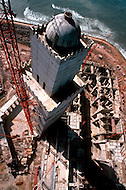 March 10, 1989, Casablanca, Morocco. View from the top of the crane of the Hassan II Mosque under construction . The mosque was completed in 1993.