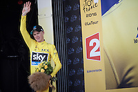 podium salute by Chris Froome (GBR/SKY)<br /> <br /> stage 11: Carcassonne - Montpellier (162km)<br /> 103rd Tour de France 2016