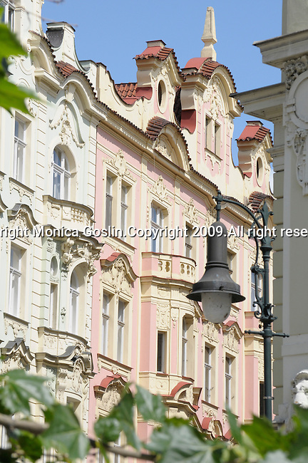 Pastel colored buildings in Prague, Czech Republic.