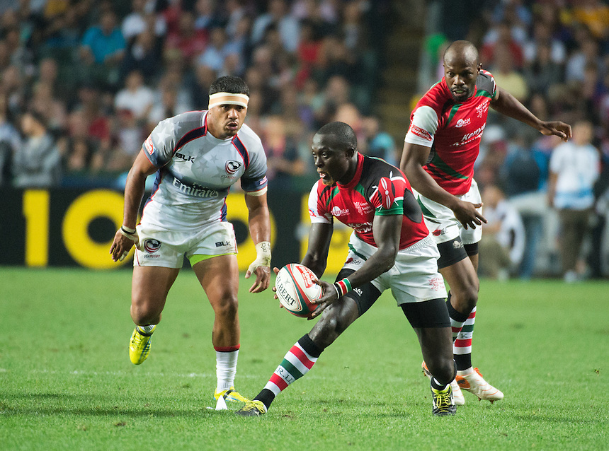 Folau Niua from USA loses the ball to Kenya.USA vs Kenya Hong Kong Rugby 7's.27.03.15. 27th March 2015.