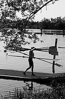Brandenburg. GERMANY. GBR W8+, Frances HOUGHTON carries the crews blade at the 2016 European Rowing Championships at the Regattastrecke Beetzsee<br /> <br /> Thursday  05/05/2016<br /> <br /> [Mandatory Credit; Peter SPURRIER/Intersport-images]