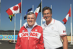 November 12 2011 - Guadalajara, Mexico:  CEO Henry Storgaard gives Lieutenant Governor Honorable David Onley a Team Canada Jacket at the Athletes Village at the 2011 Parapan American Games.  Photos: Matthew Murnaghan/Canadian Paralympic Committee