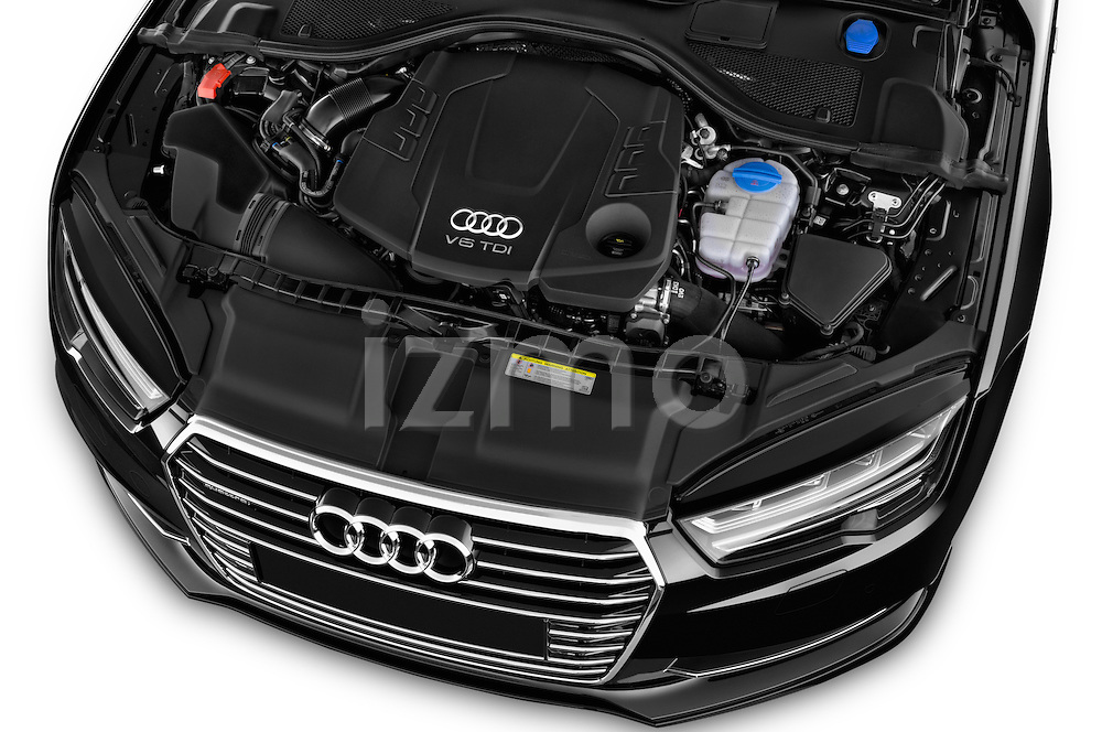 Car Stock 2015 Audi A7 S Line 5 Door Hatchback Engine high angle detail view