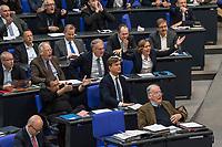 """30. Sitzung des Deutschen Bundestag am Freitag den 27. April 2018.<br /> Auf Antrag der rechtsnationalistischen """"Alternative fuer Deutschland"""", AfD, musste das Parlament ueber den Entwurf eines Gesetzes zur Aenderung Paragraph 130 des Strafgesetzbuchs (Volksverhetzung) diskutieren. Abgeordnete aller Fraktionen, ausser der Rechtsnationalisten, wiesen dies als Schritt zur Abschaffung des Paragraphen zurueck. <br /> Im Bild: Die Abgeordneten der AfD empoeren sich lautstark. Rechts gestikuliert die stellvertretende AfD-Fraktionsvorsitzende Beatrix Amelie Ehrengard Eilika von Storch. Vorne Rechts der Fraktions- und Parteivorsitzende Alexander Gauland.<br /> 27.4.2018, Berlin<br /> Copyright: Christian-Ditsch.de<br /> [Inhaltsveraendernde Manipulation des Fotos nur nach ausdruecklicher Genehmigung des Fotografen. Vereinbarungen ueber Abtretung von Persoenlichkeitsrechten/Model Release der abgebildeten Person/Personen liegen nicht vor. NO MODEL RELEASE! Nur fuer Redaktionelle Zwecke. Don't publish without copyright Christian-Ditsch.de, Veroeffentlichung nur mit Fotografennennung, sowie gegen Honorar, MwSt. und Beleg. Konto: I N G - D i B a, IBAN DE58500105175400192269, BIC INGDDEFFXXX, Kontakt: post@christian-ditsch.de<br /> Bei der Bearbeitung der Dateiinformationen darf die Urheberkennzeichnung in den EXIF- und  IPTC-Daten nicht entfernt werden, diese sind in digitalen Medien nach §95c UrhG rechtlich geschuetzt. Der Urhebervermerk wird gemaess §13 UrhG verlangt.]"""