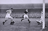 Celtic legend Sean Fallon closes in for one of his rare goals as a player in the 1950's - Picture by Donald MacLeod - 17.03.11 - 07702 319 738 - www.donald-macleod.com - clanmacleod@btinternet.com