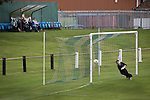 Gala Fairydean Rovers goalkeeper cannot prevent his team going 2-0 down during his team's inaugural match in the Scottish Lowland Football League away to Whitehill Welfare at Ferguson Park. Gala were formed in 2013 by an a re-amalgamation of Gala Fairydean and Gala Rovers, the two clubs having separated in 1908 and Gala's Netherdale ground in Galashiels in the Scottish Borders had one of only two stands designated as listed football stands in Scotland. Whitehill won the match, the first-ever in the newly-formed Lowland League by 4 goals to 2.