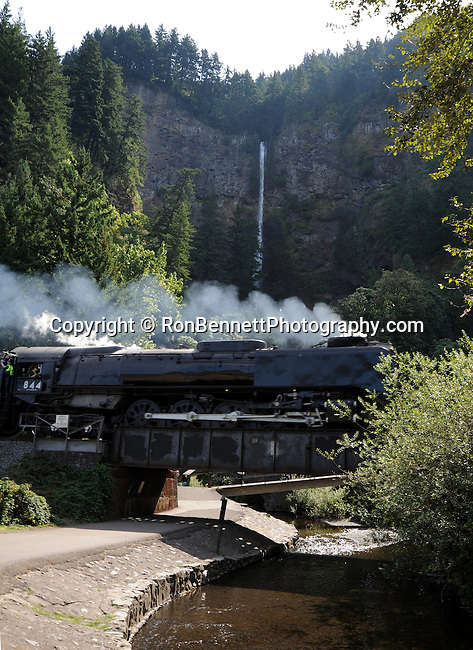 The Portland Rose Union Pacific Railroad Steam locomotive Engine 844 whistles past Multnomah Falls Oregon on its trip down the Columbia River Gorge. Multnomah Falls drops in two major steps, split into an upper falls of 542 feet and a lower falls of 69 feet, with a gradual 9 foot drop in elevation between the two, so the total height of the waterfall is conventionally given as 620 feet.