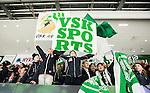 V&auml;ster&aring;s 2015-03-04 Bandy SM-Semifinal 3 V&auml;ster&aring;s SK  - Villa Lidk&ouml;ping BK :  <br /> Unga V&auml;ster&aring;s supportrar med flaggor efter matchen mellan V&auml;ster&aring;s SK  och Villa Lidk&ouml;ping BK <br /> (Foto: Kenta J&ouml;nsson) Nyckelord:  Bandy SM SM-Semifinal Semifinal Slutspel Elitserien ABB Arena Syd V&auml;ster&aring;s SK VSK Villa Lidk&ouml;ping supporter fans publik supporters