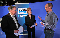 07/02/'11 TV3's Vincent Browne and Ursula Halligan and Conor Tiernan Producer of future Taoiseach debate  pictured in the TV3 Studios this evening rehearsing for tomorrow night's party Taoiseach's debate...Picture Colin Keegan, Collins.****NO REPRODUCTION FEE FOR PIC****