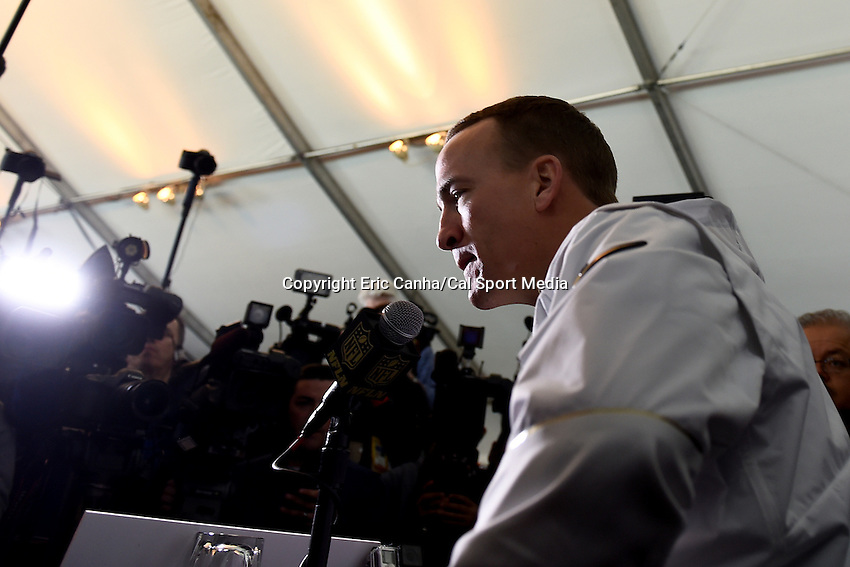 Tuesday, February 2, 2016: Denver Broncos quarterback Peyton Manning (18) talks to the media during a press conference for the National Football League Super Bowl 50 between the Denver Broncos and the Carolina Panthers. Eric Canha/CSM