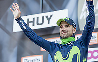 race winner Alejandro Valverde (ESP/Movistar) on the podium with his 5th Fl&egrave;che win<br /> <br /> 81st Fl&egrave;che Wallonne 2017 (1.UWT)<br /> 1day race: Binche &gt; Huy 200,5KM