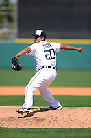 Detroit Tigers pitcher Octavio Dotel #20 during a Spring Training game against the Atlanta Braves at Joker Marchant Stadium on February 27, 2013 in Lakeland, Florida.  Atlanta defeated Detroit 5-3.  (Mike Janes/Four Seam Images)