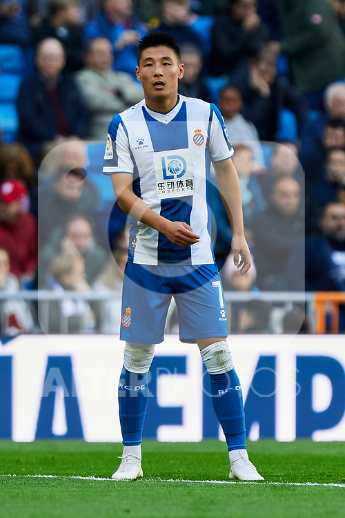 Wu Lei of RCD Espanyol during La Liga match between Real Madrid and RCD Espanyol at Santiago Bernabeu Stadium in Madrid, Spain. December 07, 2019. (ALTERPHOTOS/A. Perez Meca)