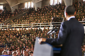 Camp Lejeune, N.C. - February 27, 2009 -- United States troops and civilians listen to United States President Barack Obama during his visit to Camp Lejeune, North Carolina on February 27, 2009. Obama was on Camp Lejeune to discuss current policies and an exit strategy from Iraq..Credit: Michael J. Ayotte - USMC via CNP