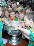 Pupils from Duleek Boys National School with the Sam Maguire on Thursday..Picture Paul Mohan Newsfile
