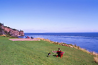 Cape d'Or, NS, Nova Scotia, Canada - Rugged Coastline along Bay of Fundy overlooking Minas Basin, and Basalt Headlands with Sea Caves - Fundy Shore & Annapolis Valley Region