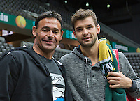 09-02-14, Netherlands,Rotterdam,Ahoy, ABNAMROWTT,  Dimitrov(BUL) with his coach Roger Rasheed<br />