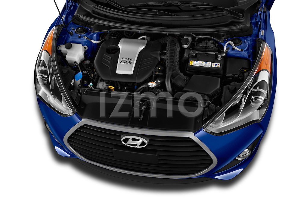 Car Stock 2016 Hyundai Veloster 1.6-Turbo-Manual 4 Door Hatchback Engine  high angle detail view