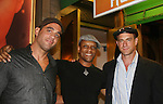 Guiding Light's Kevin Mambo stars in the play Ruined and poses with Bobby Cannavale and Chrisopher Meloni at The Manhattan Theatre Club at 131 55th St, New York City, New York. The play runs til September 6, 2009. (Photo by Sue Coflin/Max Photo)