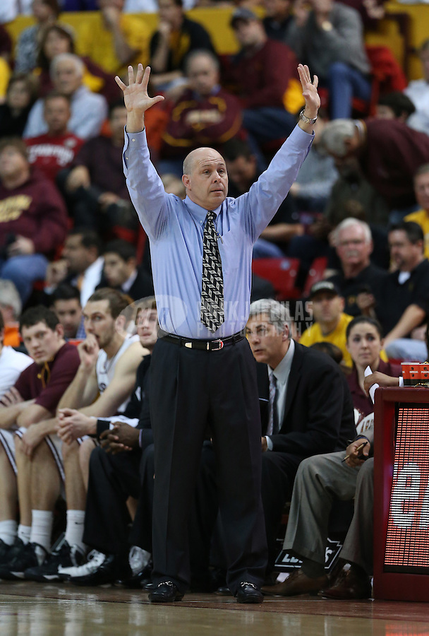 Feb. 9, 2013; Tempe, AZ, USA: Arizona State Sun Devils head coach Herb Sendek reacts in the second half against the Stanford Cardinal at the Wells Fargo Arena. Stanford defeated Arizona State 62-59. Mandatory Credit: Mark J. Rebilas-