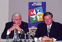 Montreal (qc) CANADA - file Photo - 1992 - <br /> Union des Municipalites du Quebec convention in April -<br /> Ralph Mercier, UMQ President and Mayor of Charlesbourg (L),<br /> Gilles Vaillancourt, UMQ Vice-President and Mayor of Laval<br /> (R)