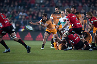 Jaguares' Tomas Cubelli passes during the 2019 Super Rugby final between the Crusaders and Jaguares at Orangetheory Stadium in Christchurch, New Zealand on Saturday, 6 July 2019. Photo: lintottphoto.co.nz
