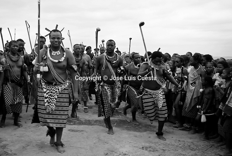 The Umhalanga dance, traditional annual celebration of the etnia Swazi. The young women dance before the king Mswati III of Swaziland, the last totalitary king of Africa..Danza Umhalanga, celebracion anual, tradicional de la etnia Swazi, en la que las mujeres jovenes bailan ante el Rey Mswati III, Swazilandia es la ultima monarquia totalitaria de Africa...