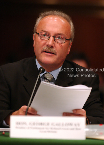 """Washington, D.C. - May 17, 2005 -- George Galloway , Member of Parliament for Bethnal Green and Bow , Great Britain, testifies before the United States Senate Committee on Homeland Security and Governmental Affairs Permanent Subcommittee on Investigations hearing on """"Oil For Influence: How Saddam Used Oil to Reward Politicians Under the United Nations Oil-for-Food Program"""" in Washington, D.C. on May 17, 2005.  .Credit: Ron Sachs / CNP"""