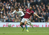 Tottenham Hotspur's Dele Alli and West Ham United's Ryan Fredericks<br /> <br /> Photographer Rob Newell/CameraSport<br /> <br /> The Premier League - Tottenham Hotspur v West Ham United - Saturday 27th April 2019 - White Hart Lane - London<br /> <br /> World Copyright © 2019 CameraSport. All rights reserved. 43 Linden Ave. Countesthorpe. Leicester. England. LE8 5PG - Tel: +44 (0) 116 277 4147 - admin@camerasport.com - www.camerasport.com