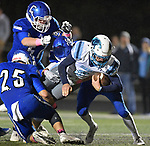 Jerseyville quarterback Matthew Jackson is tackled by Columbia players (from left) Sam Horner, Cade Napier and Ronnie Hunsaker. Jerseyville played at Columbia on Friday October 19, 2018.<br /> Tim Vizer/Special to STLhighschoolsports.com