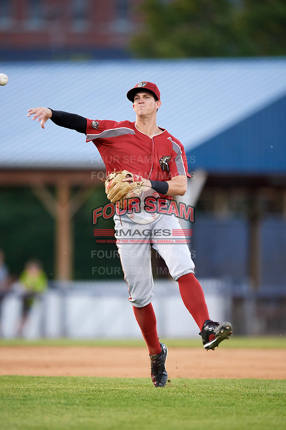 Altoona Curve shortstop Kevin Newman (2) throws to first base after fielding a ground ball during a game against the Binghamton Rumble Ponies on May 17, 2017 at NYSEG Stadium in Binghamton, New York.  Altoona defeated Binghamton 8-6.  (Mike Janes/Four Seam Images)