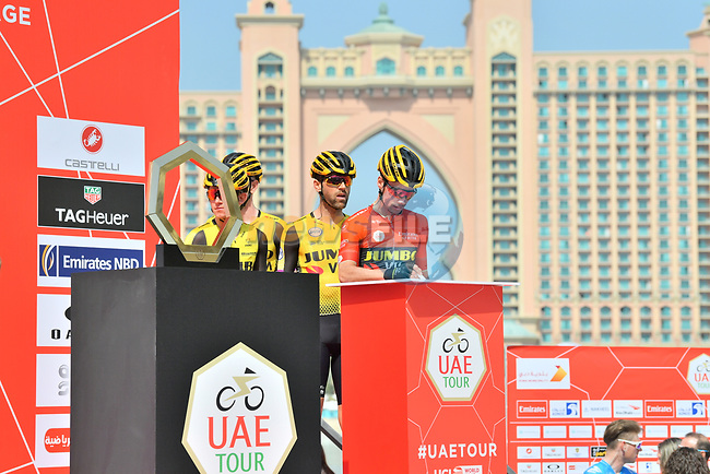 Race leader Primoz Roglic (SLO) Team Jumbo-Visma signs on before the start of Stage 4 of the 2019 UAE Tour, running 197km form The Pointe Palm Jumeirah to Hatta Dam, Dubai, United Arab Emirates. 26th February 2019.<br /> Picture: LaPresse/Massimo Paolone | Cyclefile<br /> <br /> <br /> All photos usage must carry mandatory copyright credit (© Cyclefile | LaPresse/Massimo Paolone)