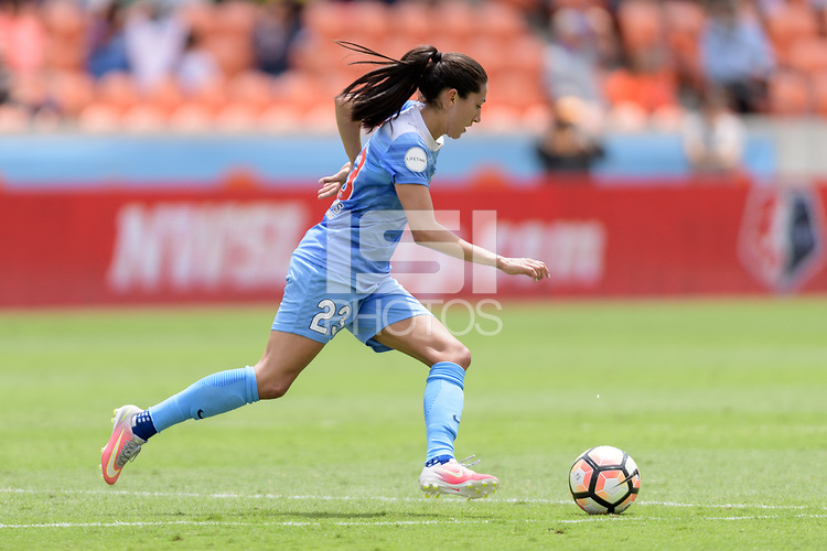 Houston, TX - Saturday April 15, 2017: Christen Press races up the field with the ball during a regular season National Women's Soccer League (NWSL) match won by the Houston Dash 2-0 over the Chicago Red Stars at BBVA Compass Stadium.