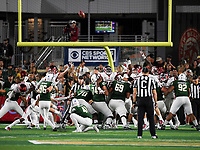 NWA Democrat-Gazette/CHARLIE KAIJO Colorado State Rams place kicker Wyatt Bryan (96) kicks field goal during the fourth quarter of a football game, Saturday, September 8, 2018 at Colorado State University in Fort Collins, Colo.