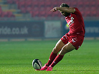Leigh Halfpenny of the Scarlets scores three points with a kick during the Guinness PRO14 match between Scarlets and Cardiff Blues at Parc Y Scarlets Stadium, Llanelli, Wales, UK. Saturday 28 October 2017