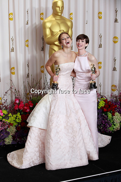 Jennifer Lawrence and Anne Hathaway attending the 85th Academy Awards at the Hollywood and Highland Center in Hollywood, California, 24.02.2013...Credit: MediaPunch/face to face..- Germany, Austria, Switzerland, Eastern Europe, Australia, UK, USA, Taiwan, Singapore, China, Malaysia and Thailand rights only -
