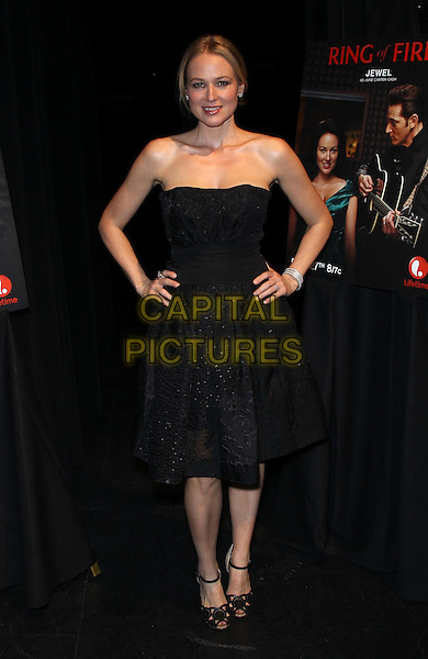 Jewel (Jewel Kilcher).2013 ACM Experience preview of Lifetime's Ring Of Fire hosted by Jewel, Las Vegas, NV, USA, 5th April 2013 .full length strapless black dress hands on hips ankle strap peep toe shoes sandals .CAP/ADM/MJT.© MJT/AdMedia/Capital Pictures.