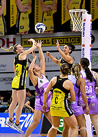 Pulse&rsquo; Sulu Fitzpatrick and Katrina Rore in action during the ANZ Premiership - Pulse v Stars at TSB Arena, Wellington, New Zealand on Monday 13 May 2019. <br /> Photo by Masanori Udagawa. <br /> www.photowellington.photoshelter.com
