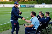 Billy Harding and Jordan Brodley of London Scottish shake hands during the Championship Cup match between London Scottish Football Club and Yorkshire Carnegie at Richmond Athletic Ground, Richmond, United Kingdom on 4 October 2019. Photo by Carlton Myrie / PRiME Media Images
