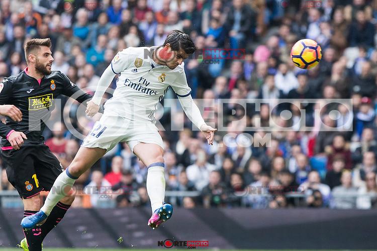 Alvaro Morata of Real Madrid shoot for scoring a goal during the match of La Liga between Real Madrid and RCE Espanyol at Santiago Bernabeu  Stadium  in Madrid , Spain. February 18, 2016. (ALTERPHOTOS/Rodrigo Jimenez) /Nortephoto.com