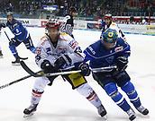28th September 2017, Saturn Arena, Ingolstadt, Germany; German Hockey League,  ERC Ingolstadt versus Eisbaren Berlin; Micki DUPONT (Berlin/CAN) challenges Greg MAULDIN (Ingolstadt/US),