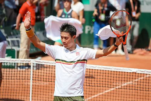 Kei Nishikori (JPN), JUNE 1, 2017 - Tennis : Kei Nishikori of Japan celebrates after winning the Men's singles second round match of the French Open tennis tournament against Jeremy Chardy of France at the Roland Garros in Paris, France. (Photo by AFLO)