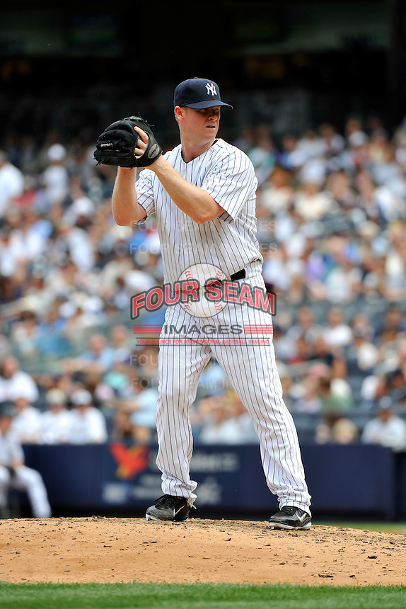 New York Yankees pitcher Brian Gordan #22 during a game against the Texas Rangers at Yankee Stadium on June 16, 2011 in Bronx, NY.  Yankees defeated Rangers 3-2.  Tomasso DeRosa/Four Seam Images
