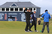 Lucas Bjerregaard (DEN) makes his putt on the 17th green to win the Alfred Dunhill Links Championship at Old Course St. Andrew's, Fife, Scotland. 07/10/2018.<br /> Picture Thos Caffrey / Golffile.ie<br /> <br /> All photo usage must carry mandatory copyright credit (&copy; Golffile | Thos Caffrey)