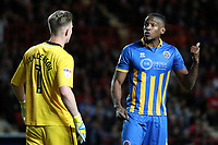 Omar Beckles of Shrewsbury Town in discussion with goalkeeper, Dean Henderson during Charlton Athletic vs Shrewsbury Town, Sky Bet EFL League 1 Play-Off Football at The Valley on 10th May 2018