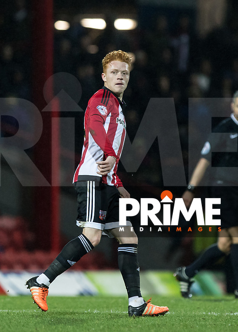 Ryan Woods of Brentford during the Sky Bet Championship match between Brentford and Leeds United at Griffin Park, London, England on 26 January 2016. Photo by Andy Rowland / PRiME Media Images.