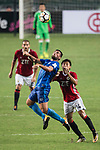 Lucas da Silva SC Kitchee (L) fights for the ball with Pak Lun Fong of Pegasus (R) during the week three Premier League match between Hong Kong Pegasus and Kitchee at Hong Kong Stadium on September 17, 2017 in Hong Kong, China. Photo by Marcio Rodrigo Machado / Power Sport Images