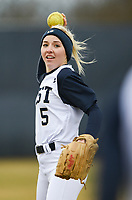 (DO NOT USE) NWA Democrat-Gazette/CHARLIE KAIJO Bentonville West High School Emma Wood (5) throws during a softball game, Thursday, March 13, 2019 at Bentonville West High School in Centerton.